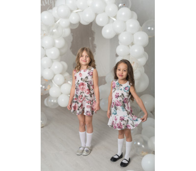 Платье для девочек ПП-007Х/БПринт цветы